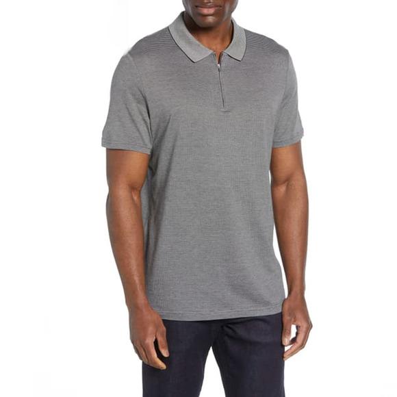 Nordstrom Signature Zip Cotton Silk Polo Shirt